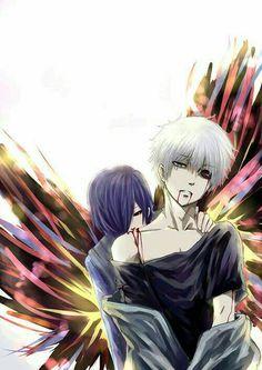 Touka, Kaneki, blood, kagune, white hair, ghouls; Tokyo Ghoul