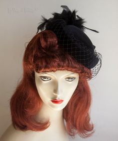 Vintage Retro 1970s/80s Black Velvet Pill Box Hat with Feathers & Veil by UpStagedVintage on Etsy