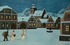 The Good Soldier Svejk, St Nicholas Day, Naive Art, Christmas Inspiration, Christmas Traditions, Czech Republic, Winter Wonderland, Silhouettes, Illustrators