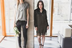gray blouse and khaki dress outfit