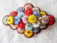 Vintage Art Deco Czech Multi Color Floral and Seed Bead Brooch Pin