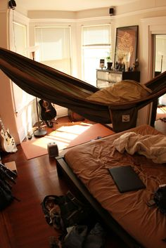 Dustin might die if I hung his hammock in the bedroom guest bed, dream, first apartment, relaxation room, hous, future room, bohemian bedrooms, hammock, camping gear