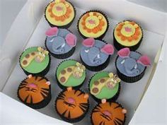 These are the cupcakes - but no giraffes because giraffes do not live in the jungle