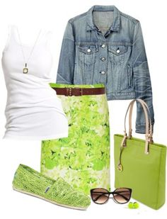 I like the pattern on the skirt coupled with the basic white tank and denim