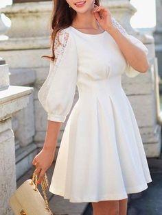 Crew Neck Paneled Sweet Half Sleeve Mini Dress in 2019 Lovely Dresses, Simple Dresses, Elegant Dresses, Casual Dresses, Short Dresses, Formal Dresses, Mini Dresses, Dress Outfits, Fashion Dresses