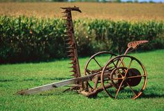 Antique Horse Drawn Mower : The development of horse-drawn hay mowers and reapers by Cyrus McCormick and others revolutionized agriculture production in the mid-1800s. (Photo Credit: David Frazier/Corbis)
