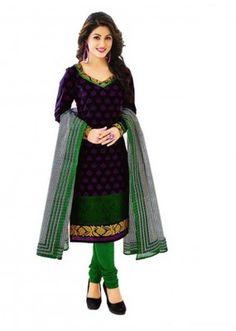 Cambric Cotton Black Churidar Suit Dress Material - 5490510