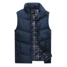 Jacket Sleeveless Vest Winter Fashion Casual Coats Male Cotton-Padded adcc15557c5