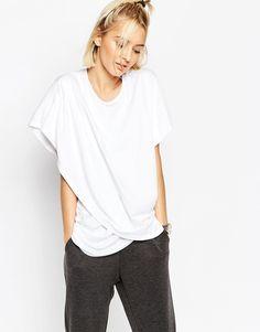 ASOS+WHITE+Cross+Wrap+Front+Longline+T-Shirt cotton+modal blend