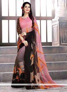 Fashion and trend would be at the peak of your elegance the moment you attire this multi colour faux georgette casual saree. This charming attire is showing some remarkable embroidery done with abstra. Saree Look, Casual Saree, Indian Ethnic Wear, Beautiful Saree, Saree Blouse Designs, Work Casual, Sarees Online, Indian Actresses, Silk Sarees