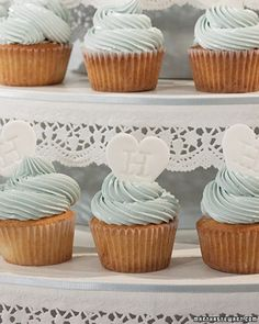 Use this recipe to create traditional white cupcakes, which you can decorate (or have your baker decorate) in a myriad of ways to match the color palette or theme of your wedding. Here, we iced the white cupcakes with blue frosting topped with a monogrammed candy heart.