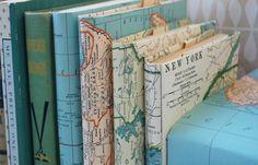 DIY / Fotoalbum mit Atlaskarte als Umschlag