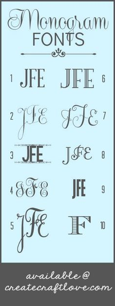 The BEST Monogram Fonts via createcraftlove.com