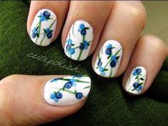 Cute Blueberry Nails, via YouTube.