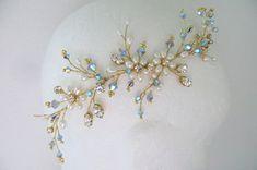 Blue Bridal Headpiece Blue wedding hair vine Bridal hair vine
