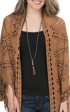 Origami Women's Camel Faux Suede with Laser Cut Out Shawl | Cavender's