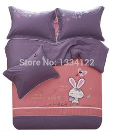Find More Bedding Sets Information about High grade embroidered cute rabbit pink and gray bedding set for sale,High Quality Bedding Sets from Amymoremore mall on Aliexpress.com