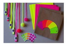 MEGA NEON Gift Wrap Pack — Wrapping, Tags, Ribbon, Stickers & Pom poms £25.00