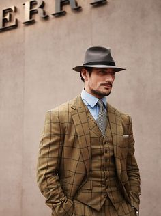 British model David Gandy arrives to watch Monday's Burberry Menswear show