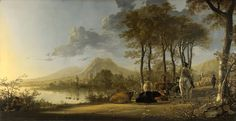 Landscape painting | River Landscape with Horseman and Peasants by Aelbert Cuypt (Late 1650 ...