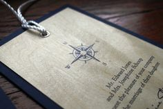Nautical Wedding Invitation, Yacht Club, Seaside, Beach Wedding, Maple Wood Grain - Nautical Compass