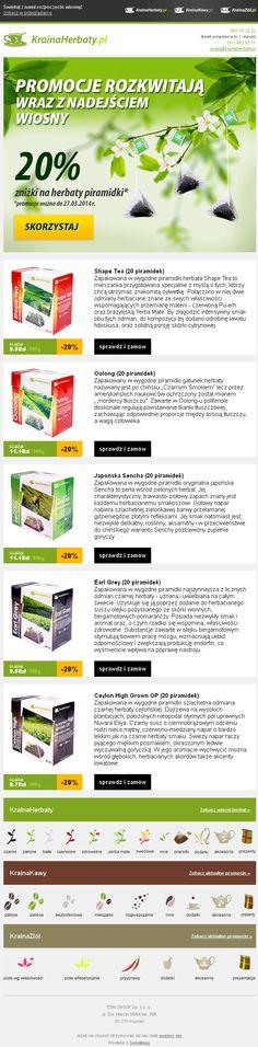Wiosenne promocje! Projekt newslettera przygotowany dla Krainaherbaty.pl  https://panel.sendingo.pl/kampania/4wy #newsletter #email #mailing #ecommerce #sale #promotion #template