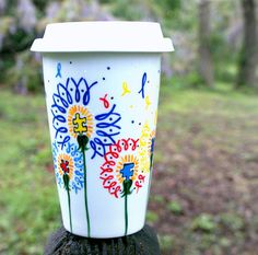 Autism Awareness Flowers  Hand Painted Porcelain by v2vozart, $24.00