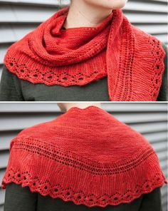 Free Knitting Pattern for Decorative Edge Lace Shawl - This Shetland-inspired lace shawl features a decorative edge in an eyelet lace pattern and a garter stitch body shaped with short rows to curve and hug the shoulders. Designed by Gudrun Johnston who teaches the class. Pattern and instructional video class available for free with a free trial at Creativebug.
