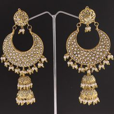 Glamorous pearl Jhumkas! Inspired by the jewels of the Mughal Era