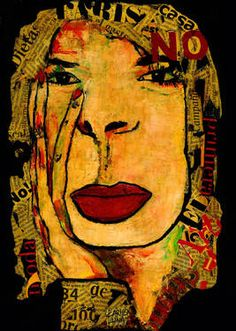 "Saatchi Art Artist CARMEN LUNA; Painting, ""2-RETRATOS Expresionistas.Fashion."" #art http://www.saatchiart.com/art-collection/Painting-Assemblage-Collage/Expressionist-Portrait/71968/51263/view"