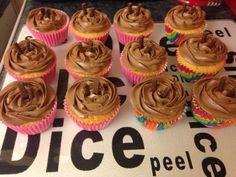 Vanilla cupcake with mint chocolate chip buttercream!