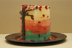 Thanksgiving cake. I would use candy-corn colors if I made this.