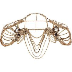 Gold tone chain lion head cape necklace - collars / capes - jewellery - from River Island