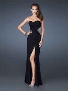 Noble Chiffon Sweetheart Strapless Floor-Length Thigh Slit Dress