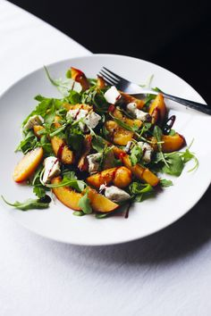 Nectarine, blue cheese  arugula salad.