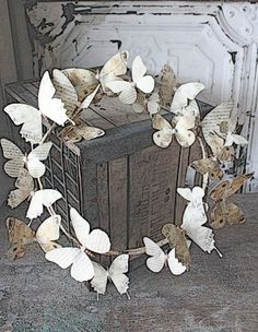 butterfly wreath. I can make this with pages of music.