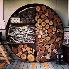 What a great way to store firewood, kindling, pine cones, etc.