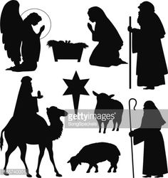 Collection of Christmas Nativity silhouettes including angel, shepherd, sheep, baby Jesus in manger, Virgin Mary, Joseph, North star, Camel with a wise man/king holding a gift.