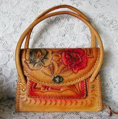 Vintage Boho Hand Tooled Leather Handbag.