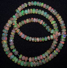 """49.80Ct Insane Metallic Fire Ethiopian Welo Opal Faceted beads 4-6 MM 16"""" String"""