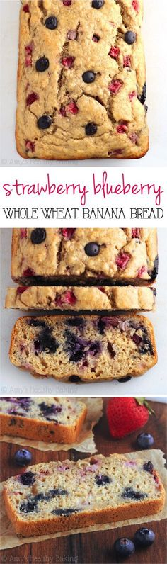 Whole Wheat Strawberry Blueberry Banana Bread -- an easy clean-eating breakfast or snack! This healthy recipe is full of fresh berries & barely 120 calories! More