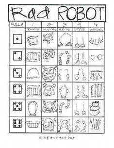 Robot Art Lesson for Kids (Emergency Sub Plans) Robot Art Project Art Lesson: Rad Robot Cool Art Projects, Projects For Kids, Art Lessons For Kids, Art For Kids, Kids Drawing Lessons, Drawing Games For Kids, Art Sub Plans, Arte Robot, Art Activities