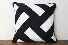 Black and white outdoor pinwheel pillow cover by MartyGraceDesigns