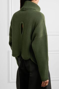 Antonio Berardi - Cutout Ribbed Wool And Cashmere-blend Turtleneck Sweater - Forest green - IT46