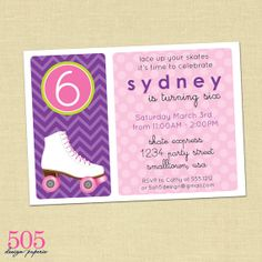 Printable Roller Skating Birthday Party Invitation  by 505design, $12.50