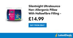 Silentnight Ultrabounce Non-Allergenic Pillow With Hollowfibre Filling - 4 Pack, £14.99 at ebay