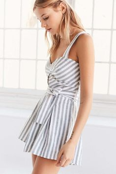 c84a9a79a303 Shakuhachi Striped Linen Tie-Waist Romper Urban Outfitters Clothes