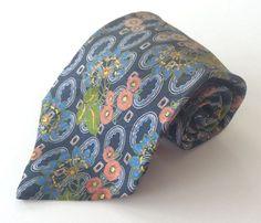 LANVIN Paris Neck Tie Blue Peach Green Floral MADE IN FRANCE 100% Silk #LANVINParis #NeckTie