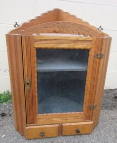 Hanging Wall Cabinet With Shelves And Drawers Tiger Oak Antique Era 1920
