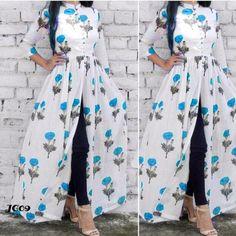 Stylish Kurtis Design, Stylish Dress Designs, Stylish Dresses, Fashion Dresses, Front Cut Kurti, Side Slit Kurti, Kurti With Jeans, Patiyala Dress, Alaska Fashion